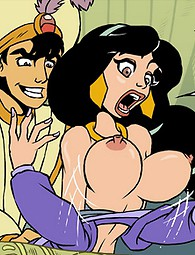 Famous princess Jasmine doesn't waste time staying alone at home. Aladdin decides to fuck the beauty in front of the crowd.