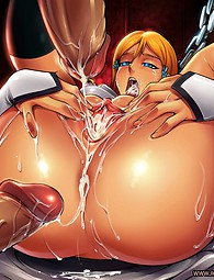 Hot anime babe with humongous tits gives hard cock a hot tit fuck.
