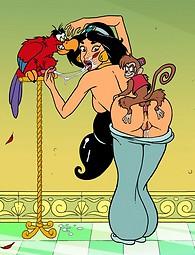 Hot princess Jasmine covered with cum