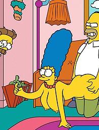 Xxx Simpson - Homer Marge baise avec un autre homme, Marge se trouve sur le sol recouvert de sperme.
