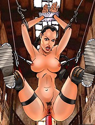 Lara Croft riding her fuck buddy's cock and getting anally tortured in dungeon