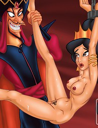 Jafar is fucking Jasmine in her tight pussy, while Alladin is watching