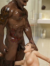 Amazing fantasy interracial sex in 3D