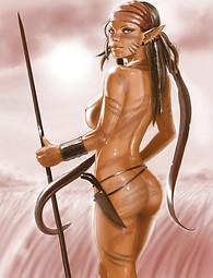 Elf Cums she-male sur elle-même, fille étonnante avec de grands seins, nus warrio elfe, sperme sur le visage