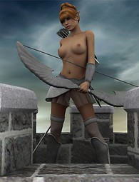 A ravishing archer girl posing in front of blue sky wearing a quiver with arrows.
