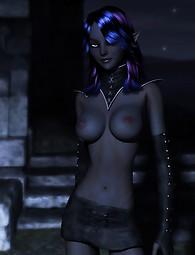 Chica prácticas de brujería totalmente desnuda