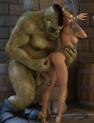 Sexy elfin chained and fucked by a huge green creature with a monster cock.