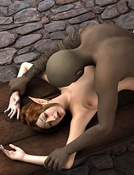 Alien fucks a blonde girl from the back. A sexy elfin chained and fucked.