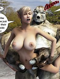 Elf having sex with her troll pet