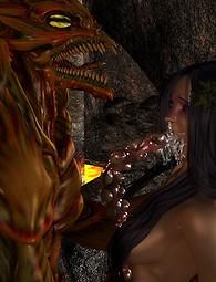 3d Sex elf with monster