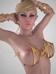Lustful elfo chicas 3D en ropa interior posando