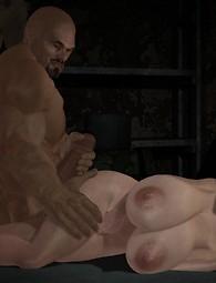 Huge milky boobs on rough black cock, ladies moaning of pleasure!