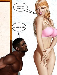 White chick bouncing on black guy's cock