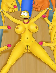 Cartoon gang bang with marge Simpson