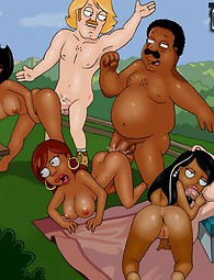 Cleveland Brown and his ghetto hoochies partying. A good load of decent black pussy from Cleveland Show