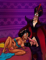 Cock-hungry Arab hoochie Princess Jasmine. Princess Jasmine servicing Aladdin's and Jafar's strong meaty cocks