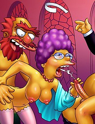 Crazy porn from Simpsons. Nasty secondary characters of Simpsons toon series