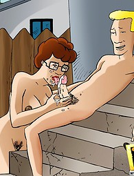 Everybody can fuck Peggy Hill. Multiple eager cocks for Peggy from King of the Hill