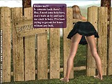 One day as you're walking in the country, you spot a very funny thing... Looks like a woman stuck in a fence! She's funny, as she's squirming, trying to get herself out.