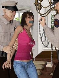 The Police punishes a sexy young babe and make her suck cock