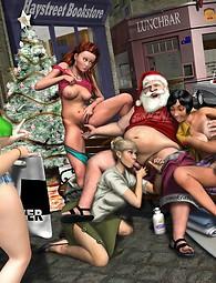 Un gang-bang en plein air avec le Père Noël et d'autres personnes chanceuses sexy