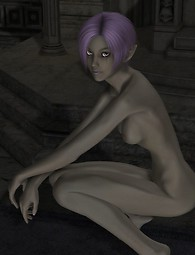 Slender 3D babe with short purple hair wants sex and gets undressed.
