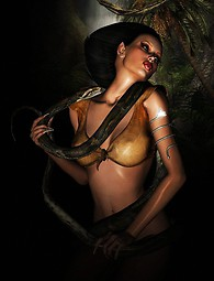 Dizziest chicas desnudas en 3D. Preciosa nena tiene una larga serpiente brillante aferrarse firmemente a su cuerpo.