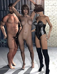 Threesome sex in dungeon 3D