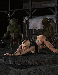 Mean goblins fuck a hot blonde gang bang