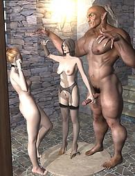 Calientes putas chupando pollas 3D monstruo, gallos monstruo en coños mojados, sexo ritual.