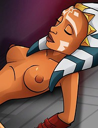 Adorable Ahsoka Tano tastes black jizz and is fucked hard into her tight pussy by guys with big cocks.