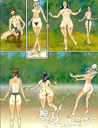 Three juicy shameless hippie chicks get stripped and bathe in a river