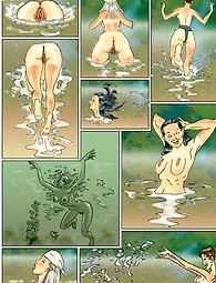 Naughty naked bathers have fun in the river - comic story