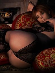 Juguetes calientes del sexo para reachicng más placer. Chica desagradable caliente en super sexy traje - ropa interior de encaje. Bellezas que separan sus piernas.
